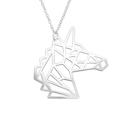 Silver Laser Cut Unicorn Necklace