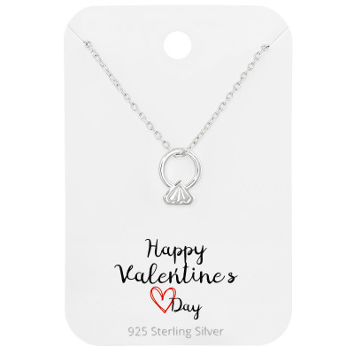Silver Ring Necklaces on Happy Valentines Day Card