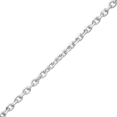 42cm Silver Diamond Cut Cable Chain
