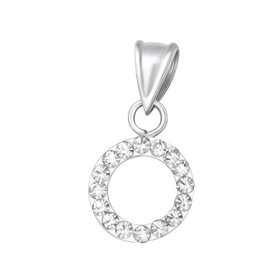 Silver Circle Pendant with Crystal