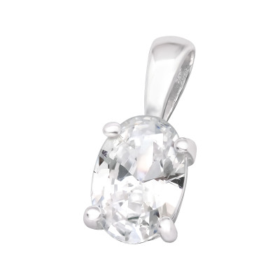 Silver Oval Pendant with Cubic Zirconia
