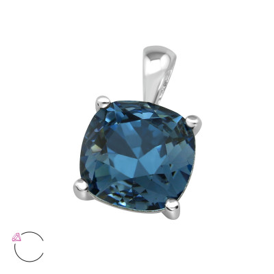 Silver Square Pendant with Genuine European Crystals