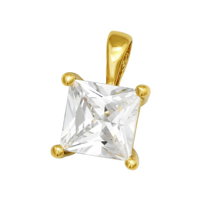 Silver Square Pendant with Cubic Zirconia