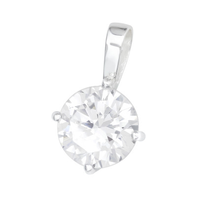 Silver Round Pendant with Cubic Zirconia