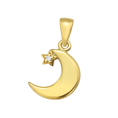 Silver Crescent Moon Pendant with Cubic Zirconia