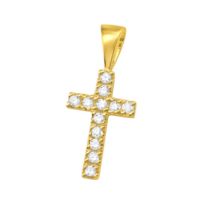 Silver Cross Pendant with Cubic Zirconia