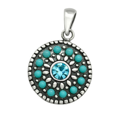 Silver Mosaic Pendant with Crystal