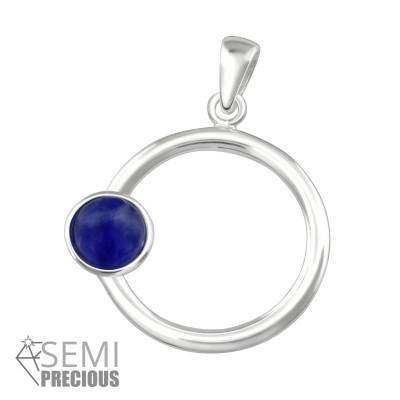 Silver Round Pendant with Semi Precious