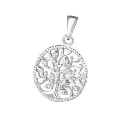Silver Tree Of Life Pendant with Cubic Zirconia