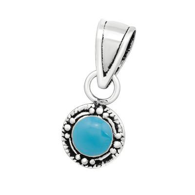 Silver Bali Pendant with Epoxy