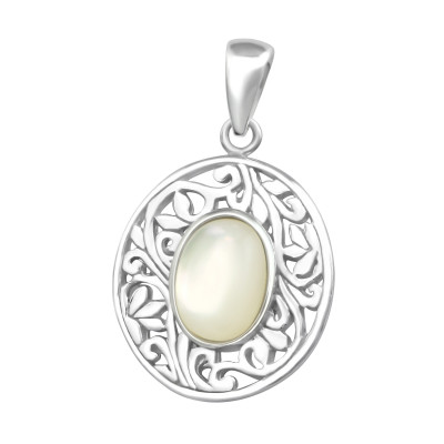 Silver Oval Pendant with Imitation Stone