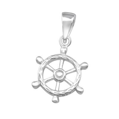 Silver Ship's Wheel Pendant