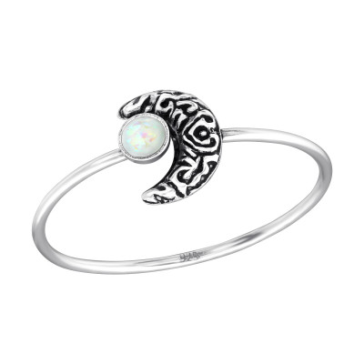 Silver Moon Ring with Synthetic Fire Snow