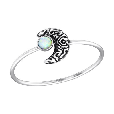 Silver Moon Ring with Fire Snow
