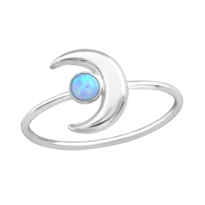 Silver Moon Ring with Azure