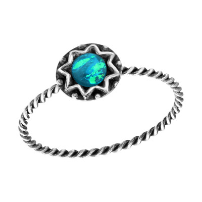 Silver Round Ring with Synthetic Blue Opal
