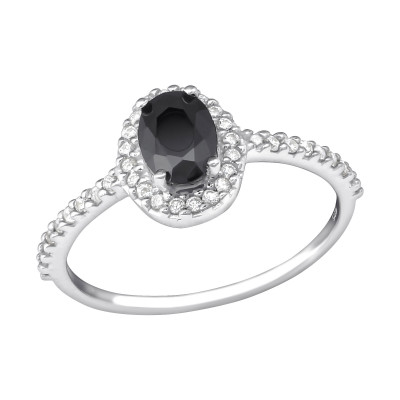 Silver Halo Ring with Cubic Zirconia