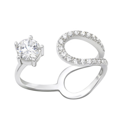 Silver Open Ring with Cubic Zirconia