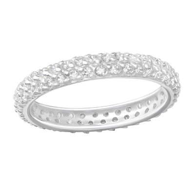 Silver Pave Ring with Cubic Zirconia