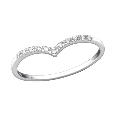Silver V Shaped Ring with Cubic Zirconia