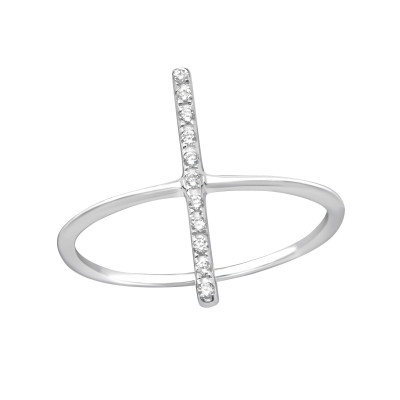 Silver Bar Ring with Cubic Zirconia