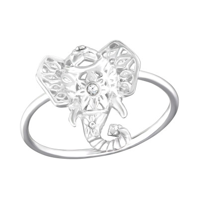 Silver Elephant Ring with Crystal