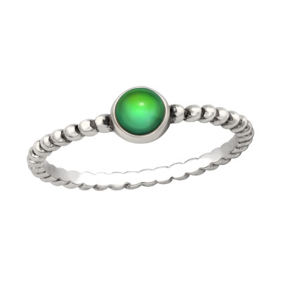 Silver Round Mood Ring