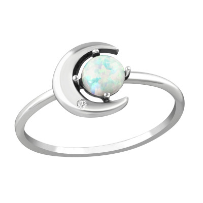 Silver Moon Ring with Cubic Zirconia and Opal