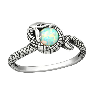 Silver Snake Ring with Fire Snow
