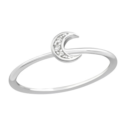 Silver Moon Ring with Cubic Zirconia