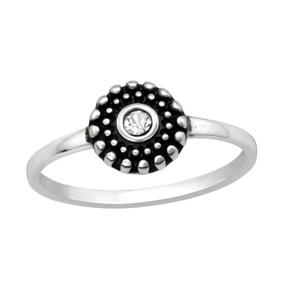 Silver Round Ring with Crystal