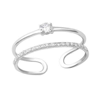 Silver Open Double Line Ring with Cubic Zirconia