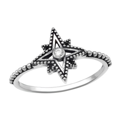 Silver Star Ring with Cubic Zirconia