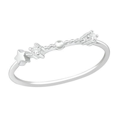 Silver January-Aquarius Ring with Cubic Zirconia