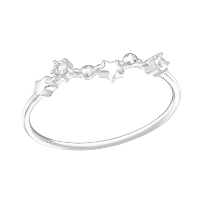 Silver February-Pisces Ring with Cubic Zirconia
