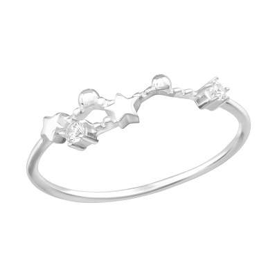 Silver April-Taurus Constellation Ring with Cubic Zirconia