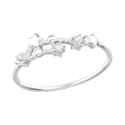 Silver May-Gemini Constellation Ring with Cubic Zirconia