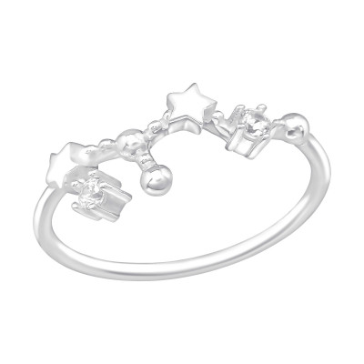 Silver July-Leo Constellation Ring with Cubic Zirconia