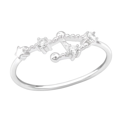 Silver September-Libra Ring with Cubic Zirconia