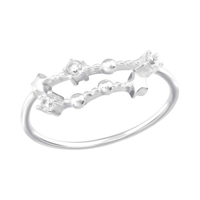 Silver December-Capricorn Constellation Ring with Cubic Zirconia