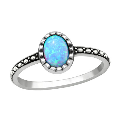 Silver Oval Ring with Azure