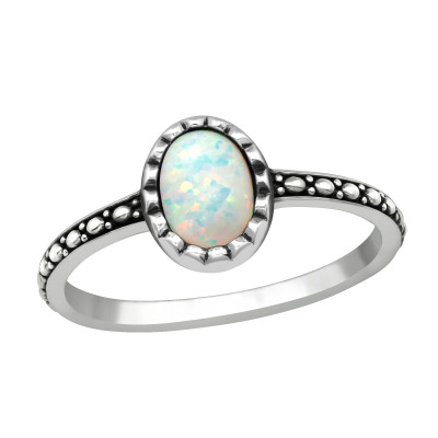 Silver Oval Ring with Fire Snow