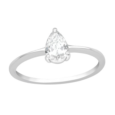 Silver Pear Ring with Cubic Zirconia