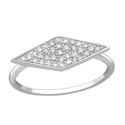 Silver Rhombus Ring with Cubic Zirconia