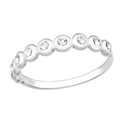 Silver Dot Link Ring with Crystal
