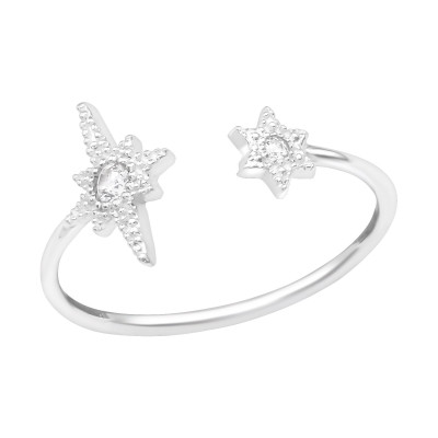 Silver Open Star Ring with Cubic Zirconia