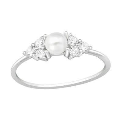 Silver Geometrical Ring with Cubic Zirconia and Synthetic Pearl