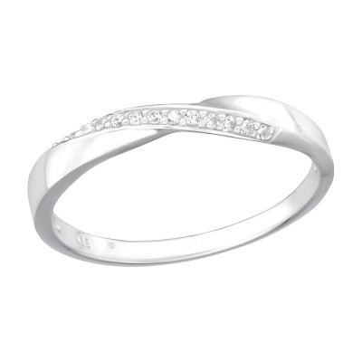Silver Intertwining Ring with Cubic Zirconia