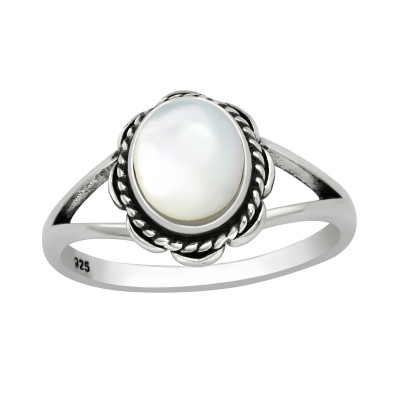 Silver Oval Ring with Imitation White Stone