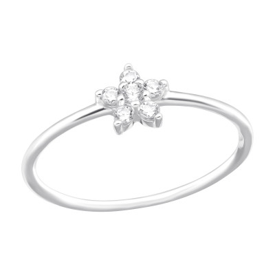 Silver Flower Ring with Cubic Zirconia